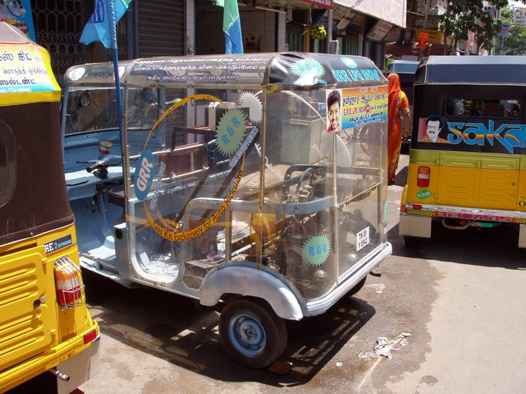 Transparent rickshaw